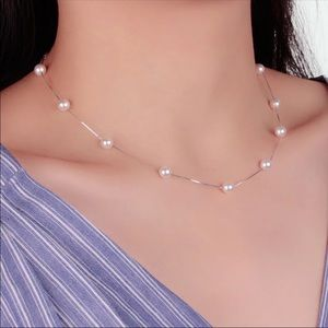 Sterling Silver Jewelry Pearl Box Chain Necklace